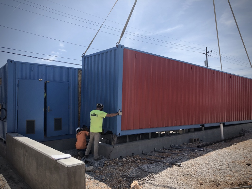 off-loading shipping container restroom