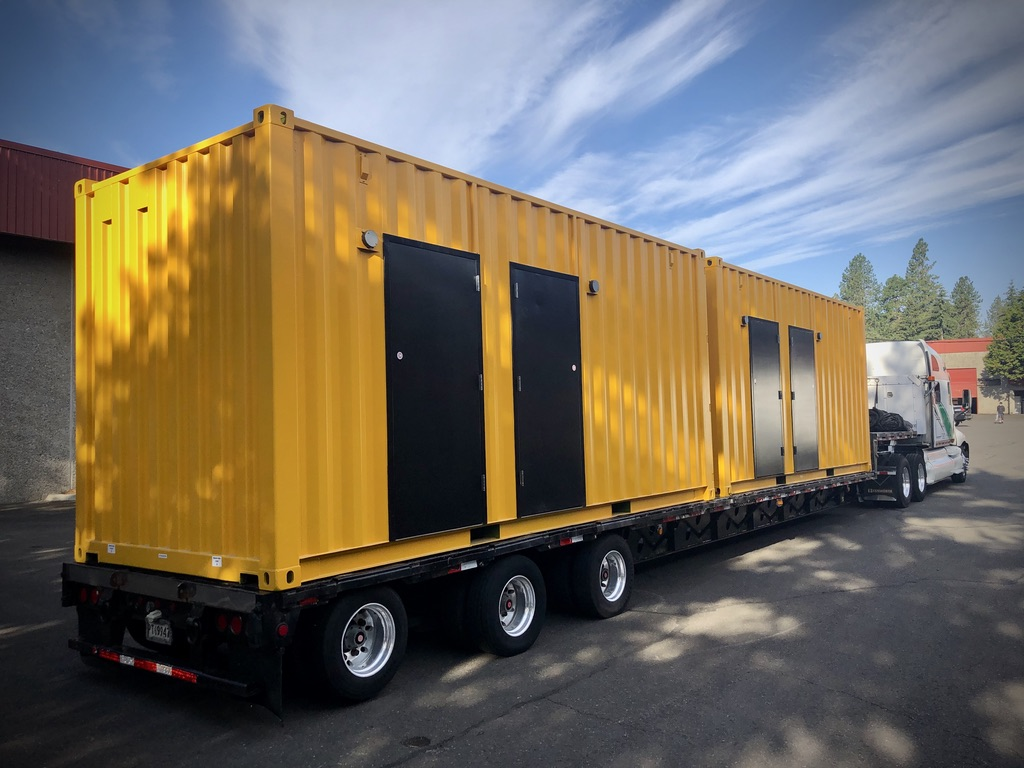 shipping container restroom  yellow