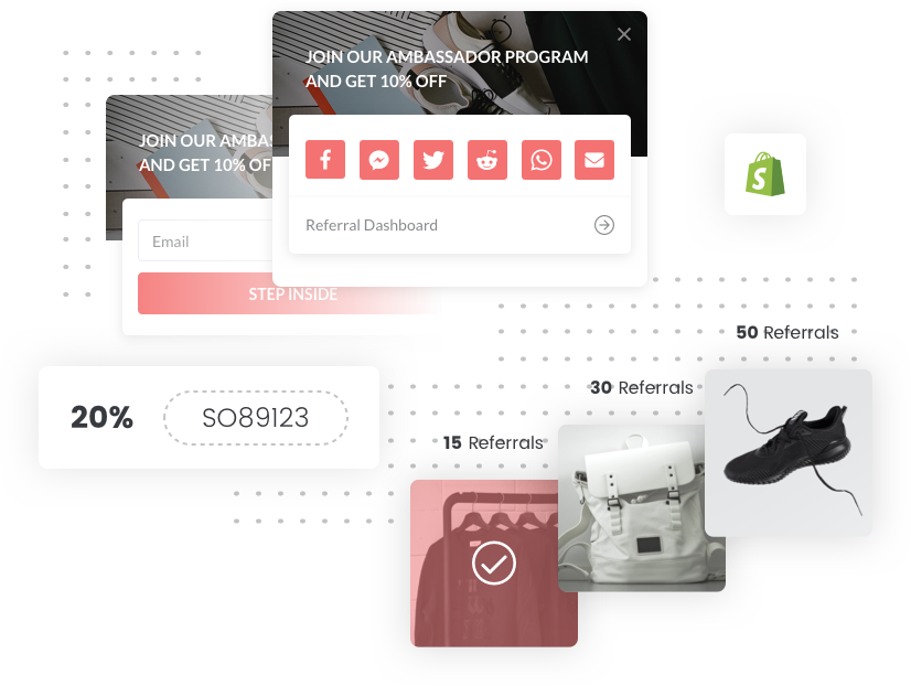 Example sign up, and sharing widgets of Viral Loops for Shopify.