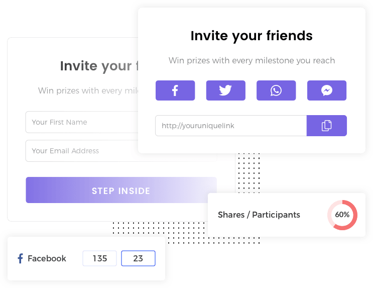 Example widget for the Milestone Referral template by Viral Loops