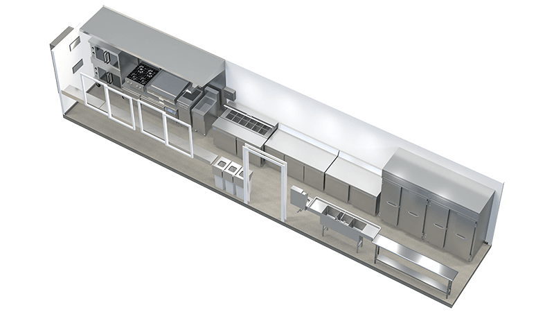 40FT shipping container kitchen floor plan