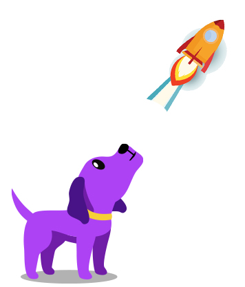 Cute purple dog standing looking up at the sky at a rocket ship blasting off