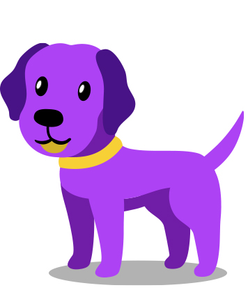 Cute purple dog standing looking straight ahead friendly and happy
