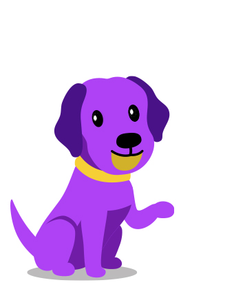 Cute purple dog sitting with one paw lifted