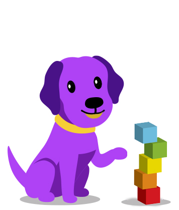 Cute purple dog building with colorful blocks