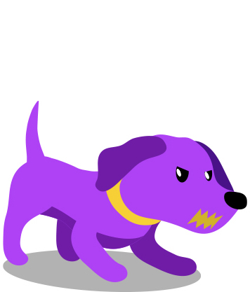 Cute purple dog growling and looking for a fight