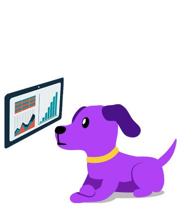 Cute purple dog analyzing data on a screen