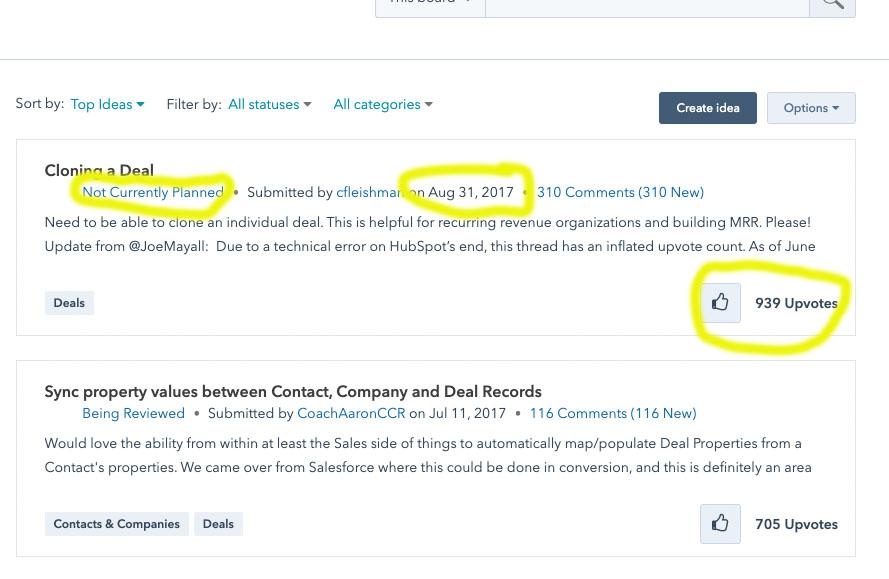 hubspot ideas forum screenshot