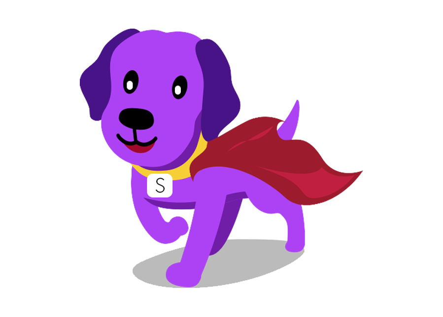 cute purple dog with red super cape