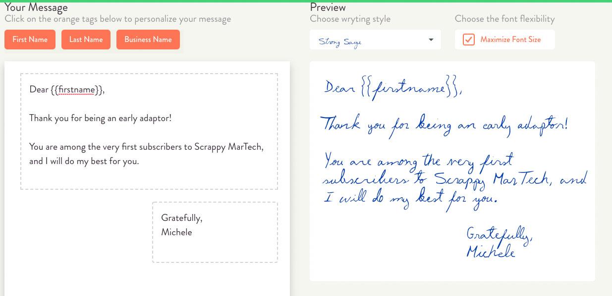 handwrytten screen shot