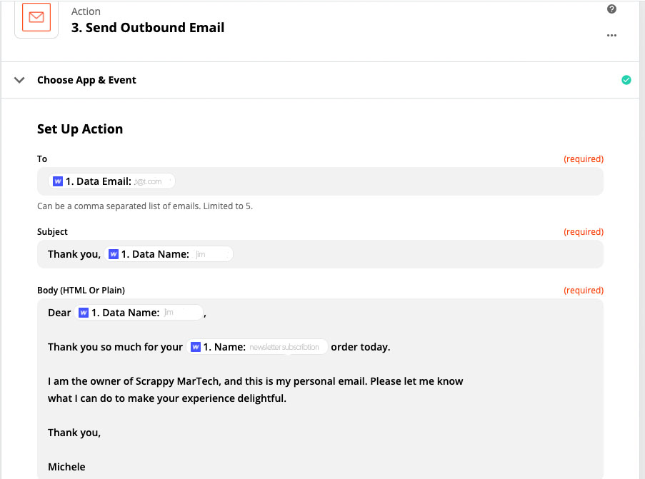 Zapier screen shot personalized email