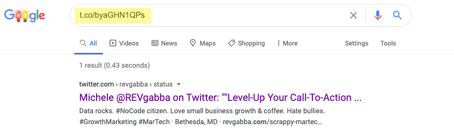 Google search for twitter referrals