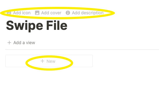 Notion Swipe File Screen Shot