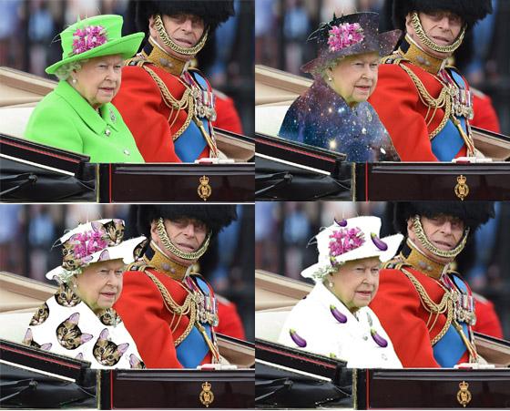 queen elizabeth in chroma green