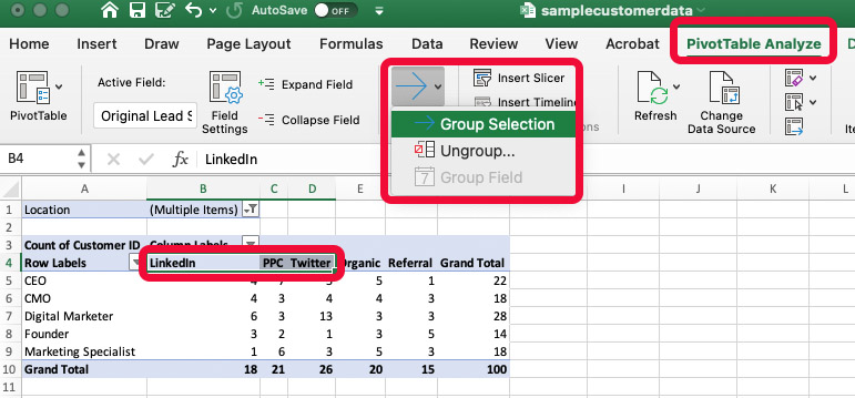 Pivot Table Screen Shot