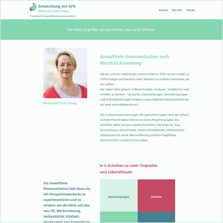 Website für eine Trainerin für Gewaltfreie Kommunikation in Stuttgart