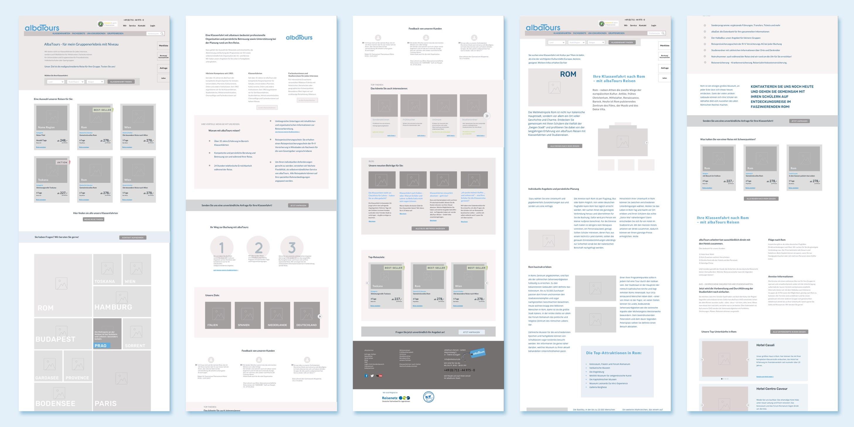 wireframes low fidelity mockup website design albtours