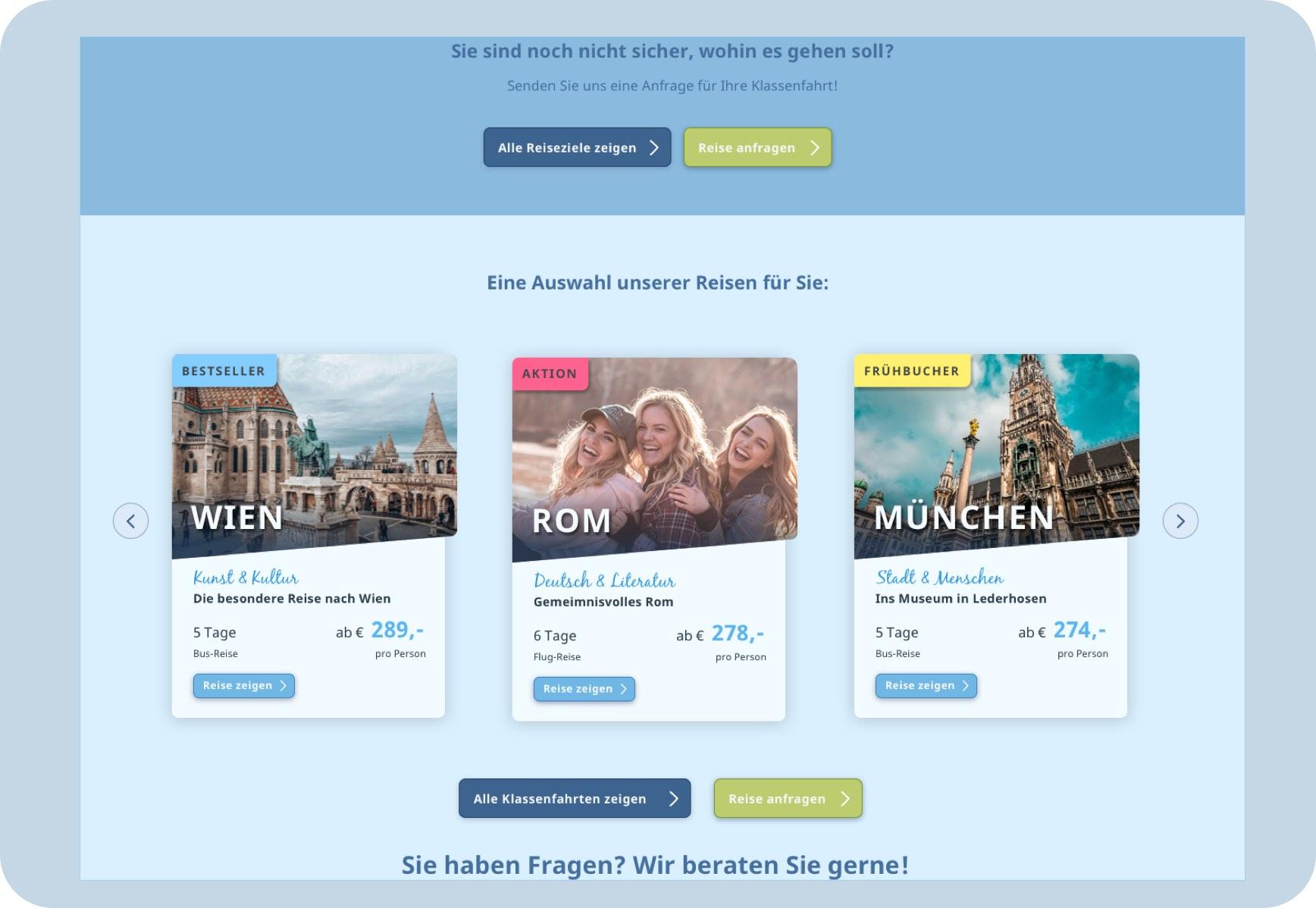 Reiseangebote Teaser auf der Startseite