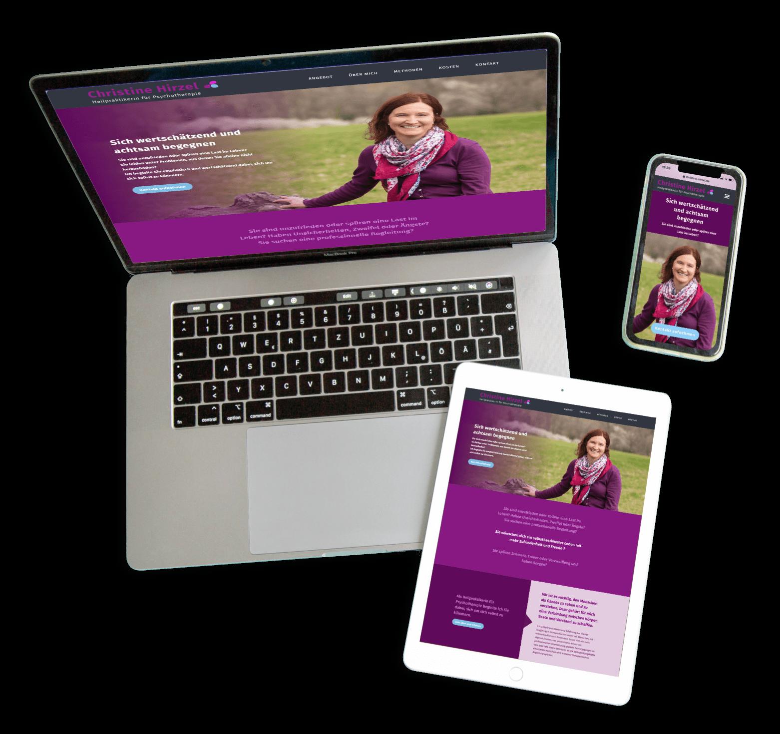eine Webseite auf einem MacBook Pro und iPad und iPhone gezeigt als Beispiele für Responsive Webdesign
