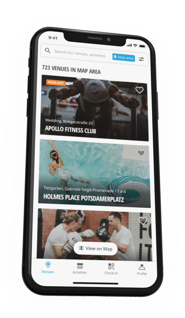 Screenshot of the venue list in the Urban Sports Club app