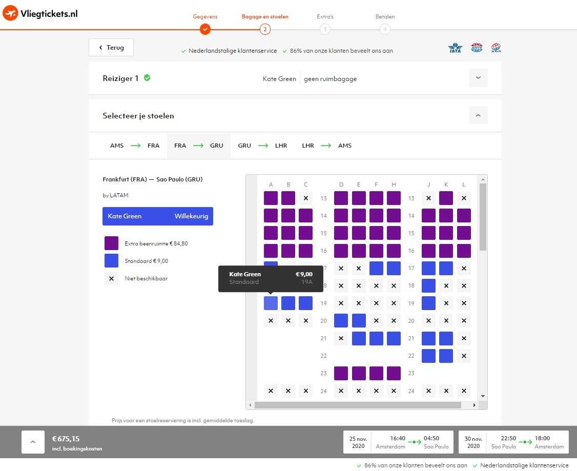 Seat selection widget on Vliegtickets.nl using the Gordian API