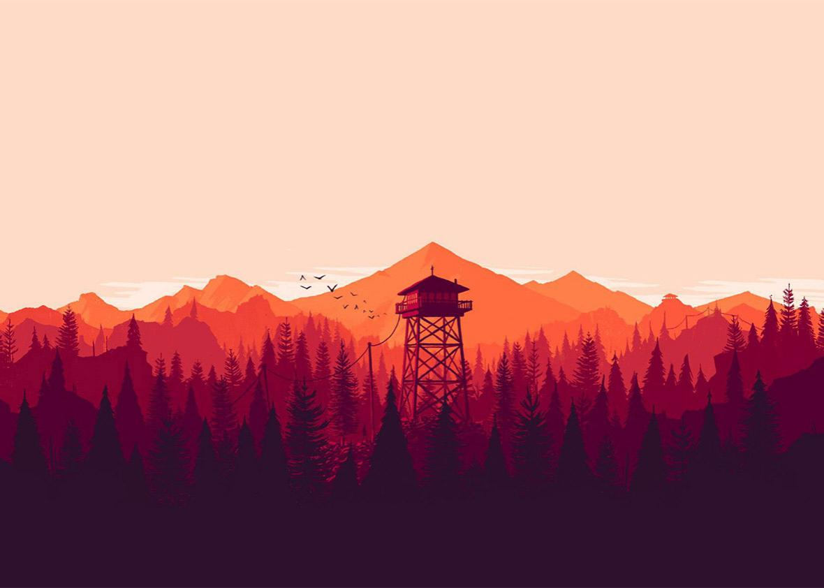 A screenshot from the game Firewatch