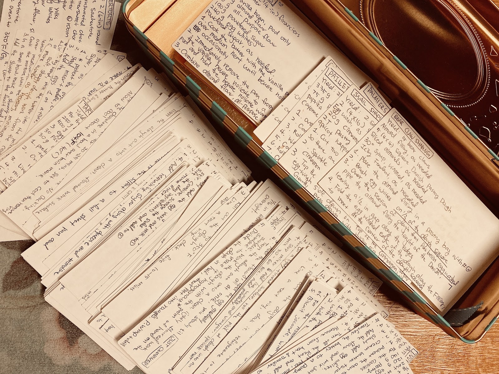photo of a hand-written recipe pile