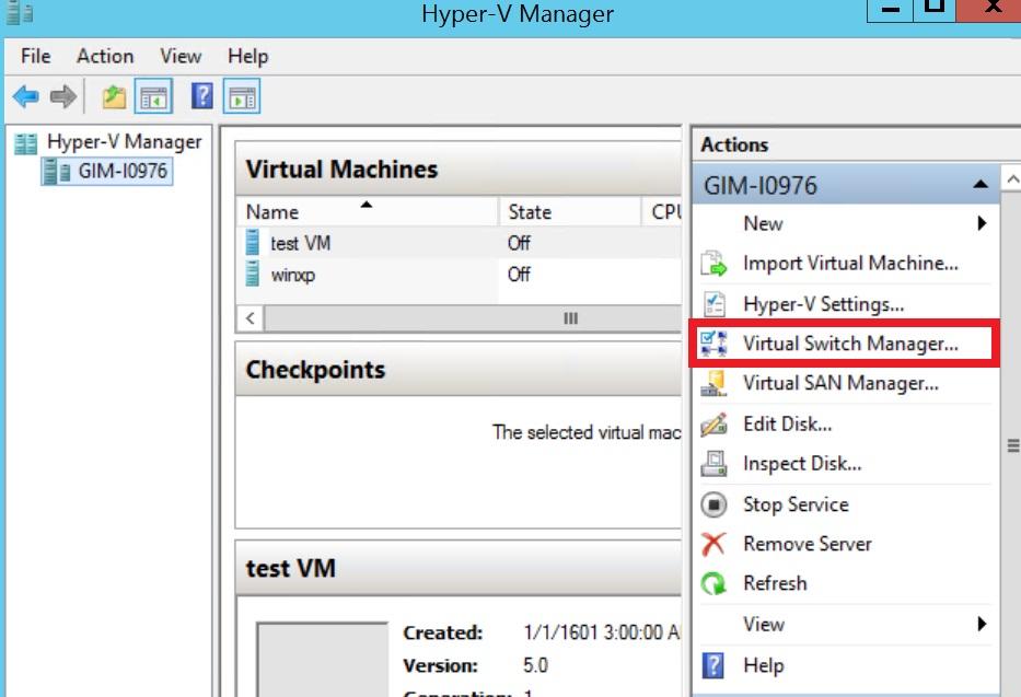 Figure 1. Hyper-V Manager