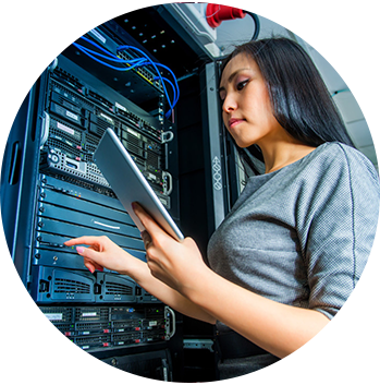 Woman working on server in data center in iTecs Career Page