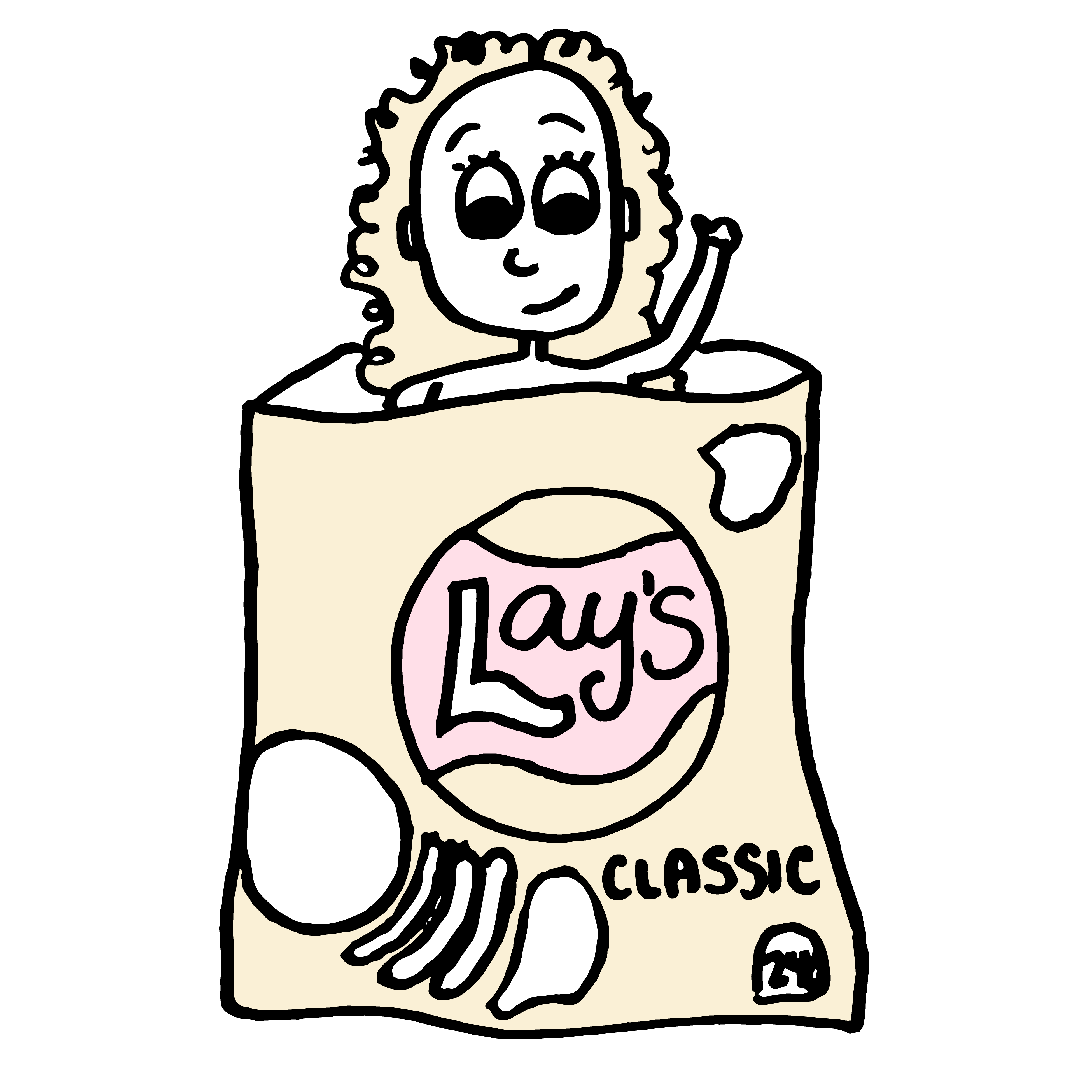 Cartoon of a woman in a chip bag