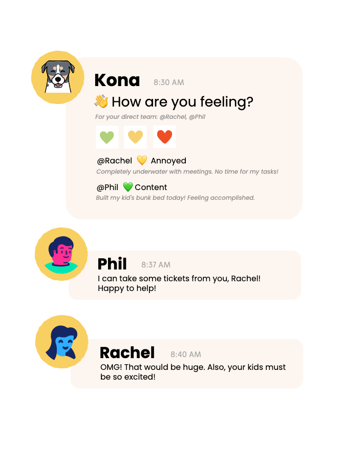 A screenshot of Kona's signature emotion check-in for remote team culture.