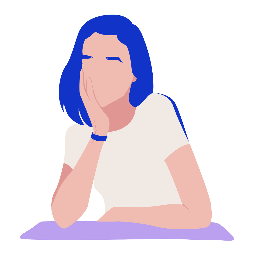 A remote worker leans on her arm, thinking.