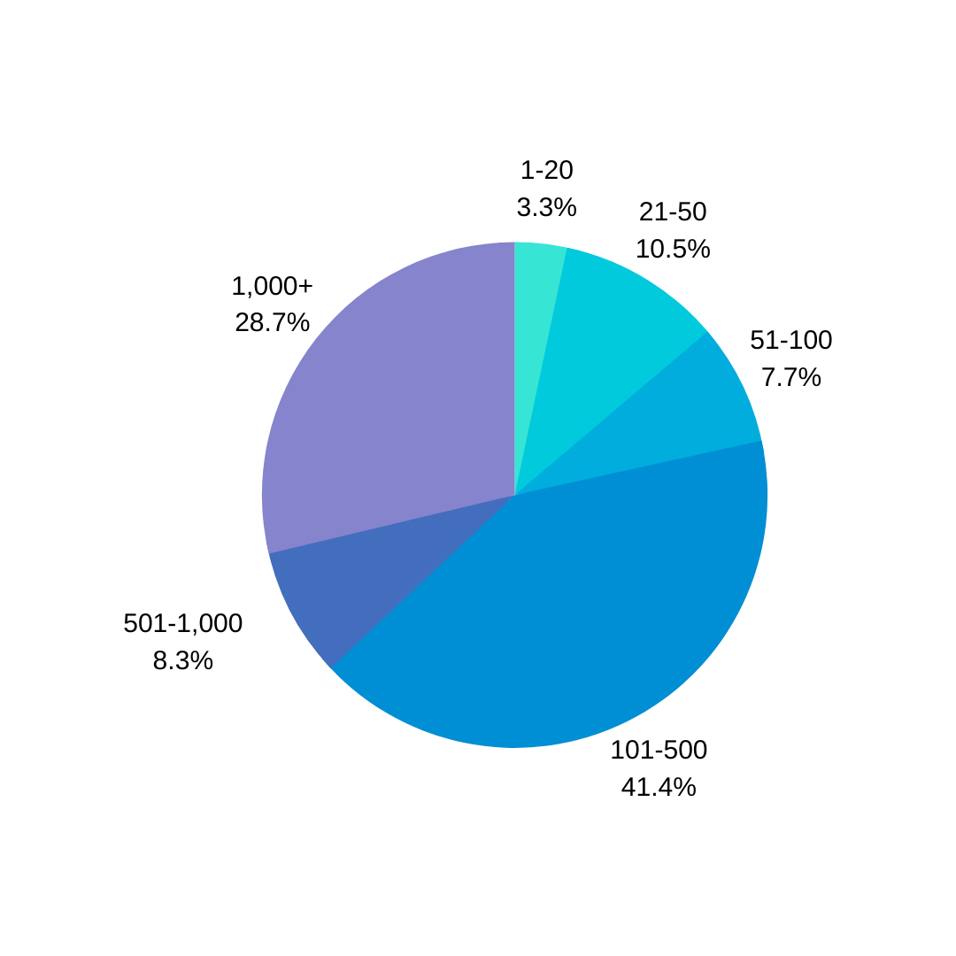A pie graph displaying the size of remote tech organizations we interviewed.