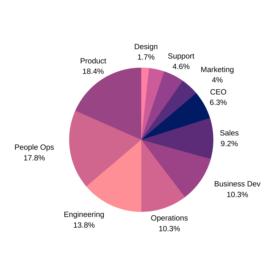 A pie chart showing the distribution of roles we interviewed for our remote managers report.