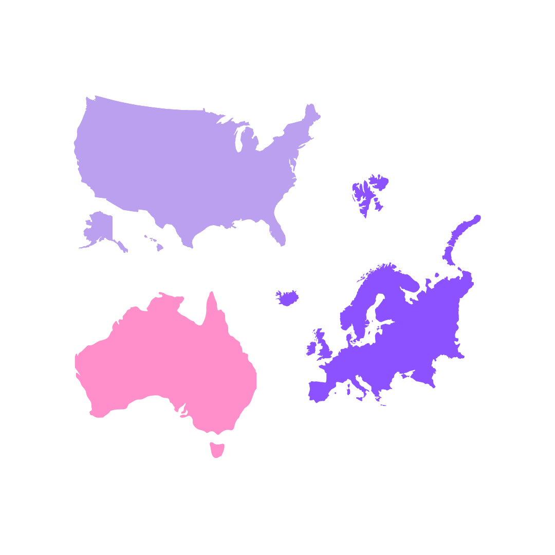 A picture of the United States, Europe, and Australia, the regions our remote interviewees came from.
