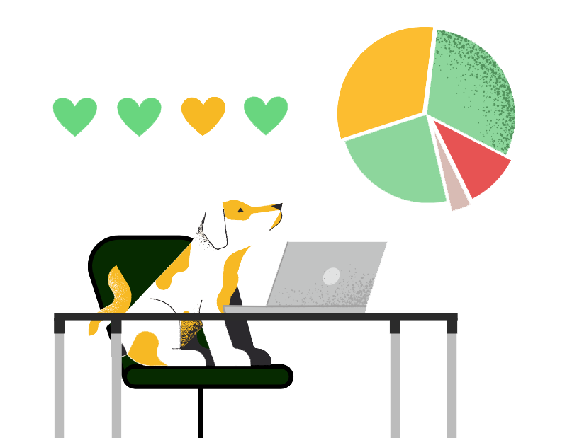 A dog sits at a desk looking at a pie graph