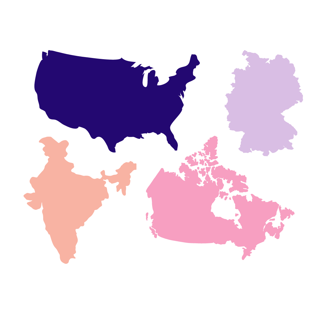 A picture of the United States, Canada, UK, and India. These were the regions where our remote interviewees came from.