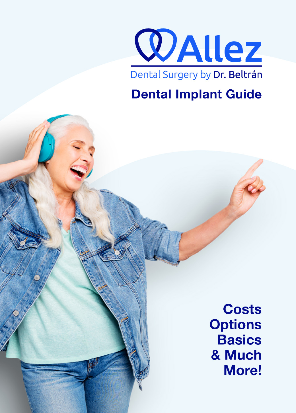 Lady living to the fullest, cover page for our Dental Implant Buying Guide.
