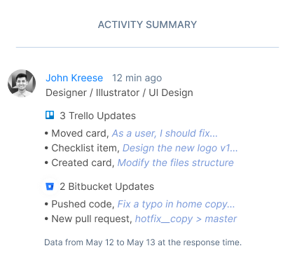 Example: this is how the activity summary looks like in a web report.