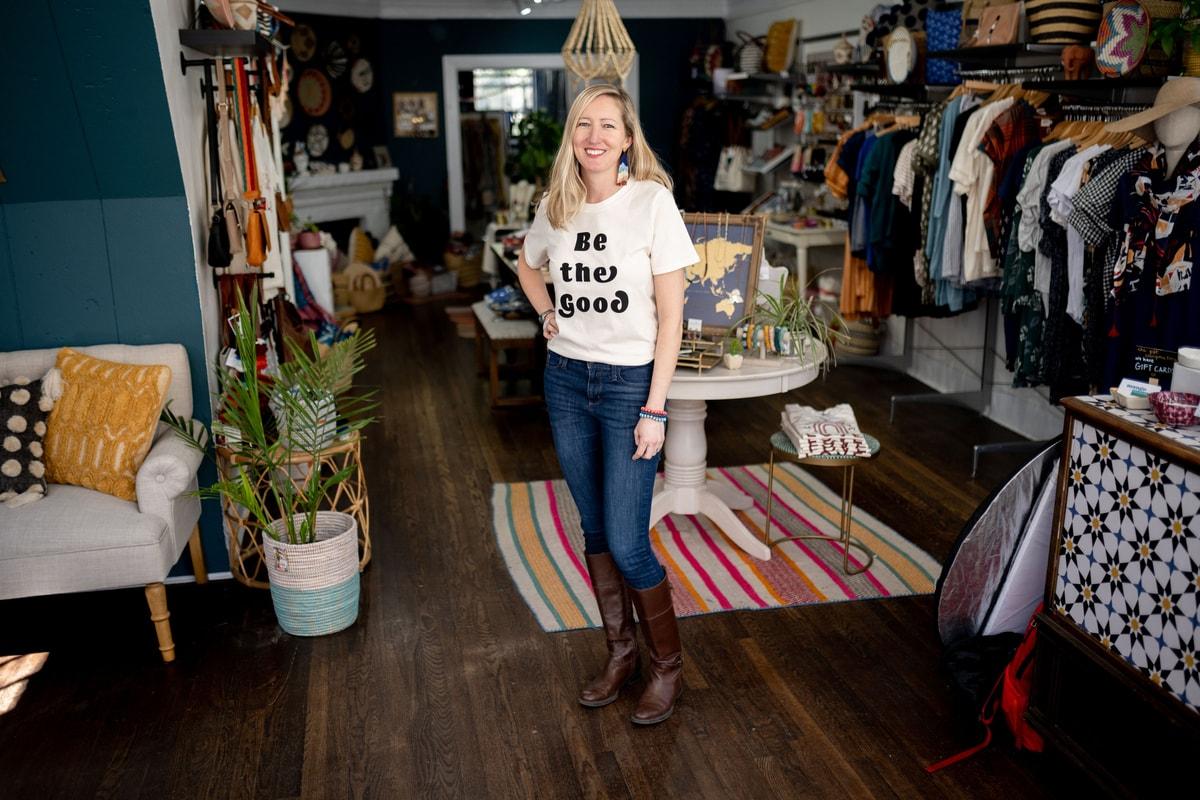 shannon riesenfeld standing in her shop, Mango + Main