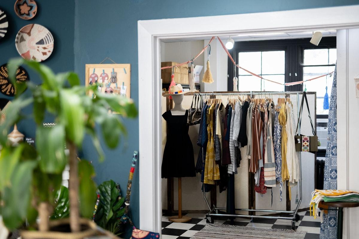 clothing racks at mango + main