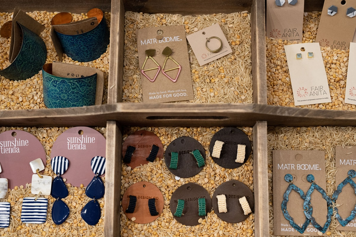 earrings on display at Mango + Main