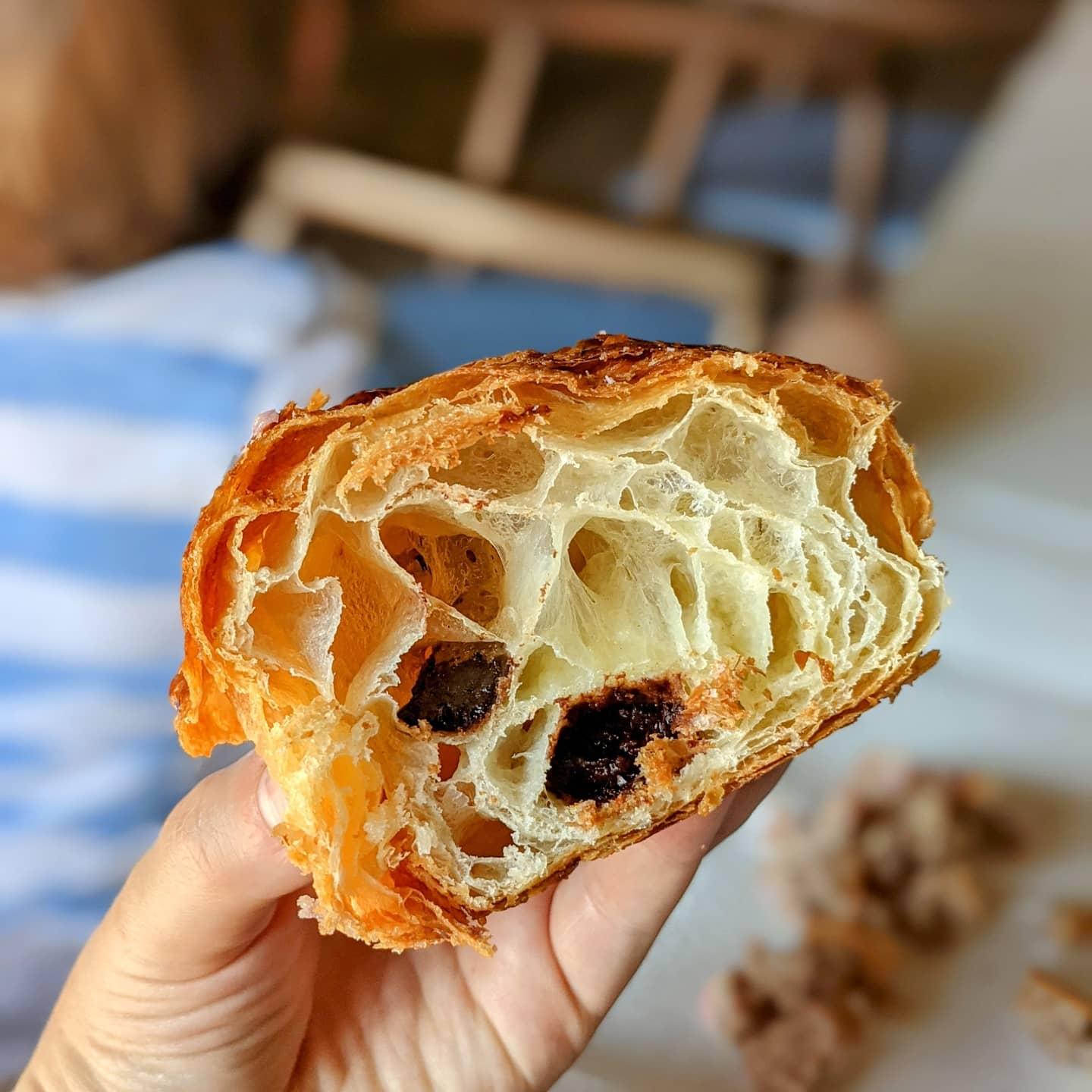 cross section of InGrano chocolate croissant