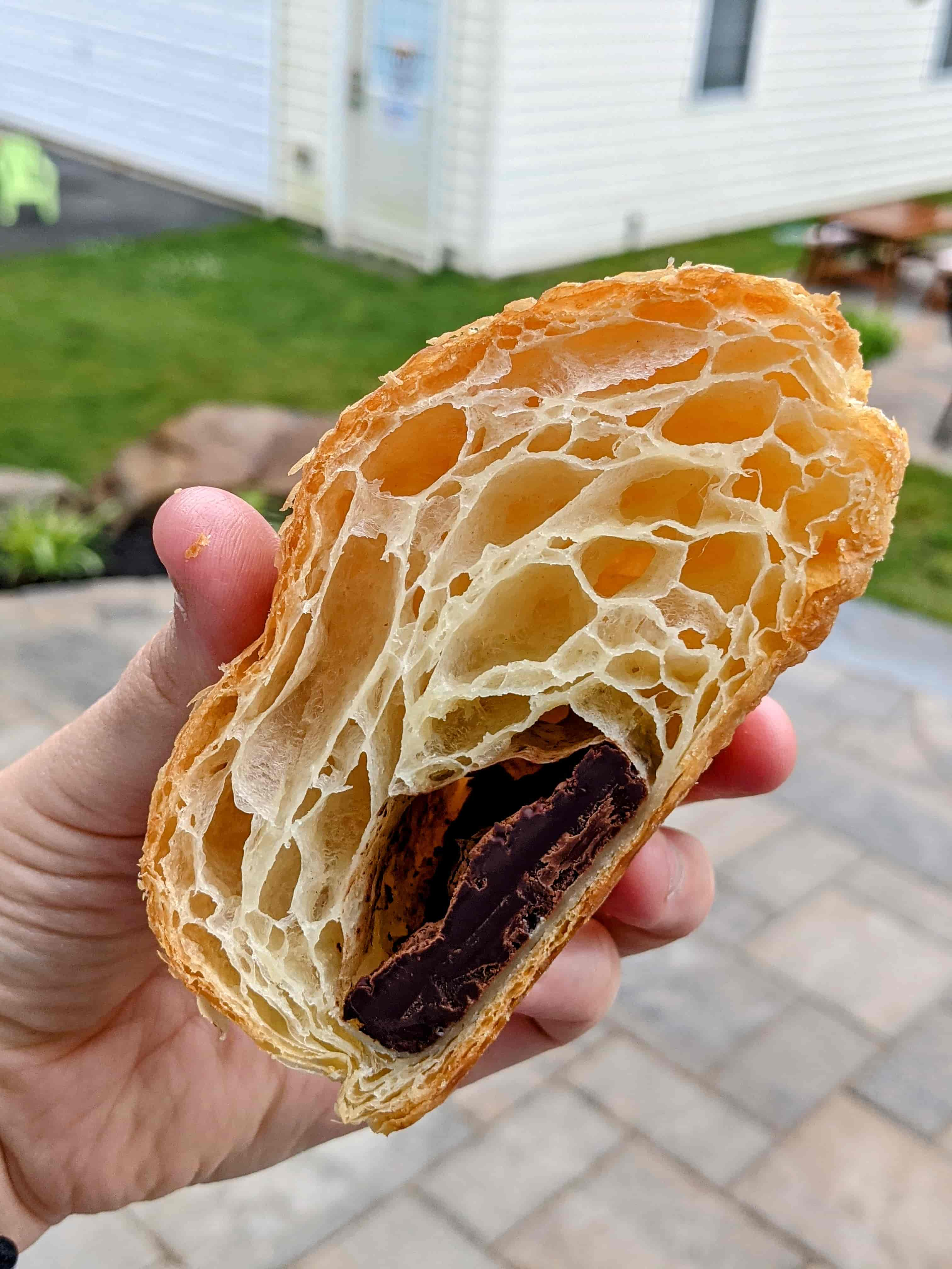 cross section of Bakers and Co chocolate croissant