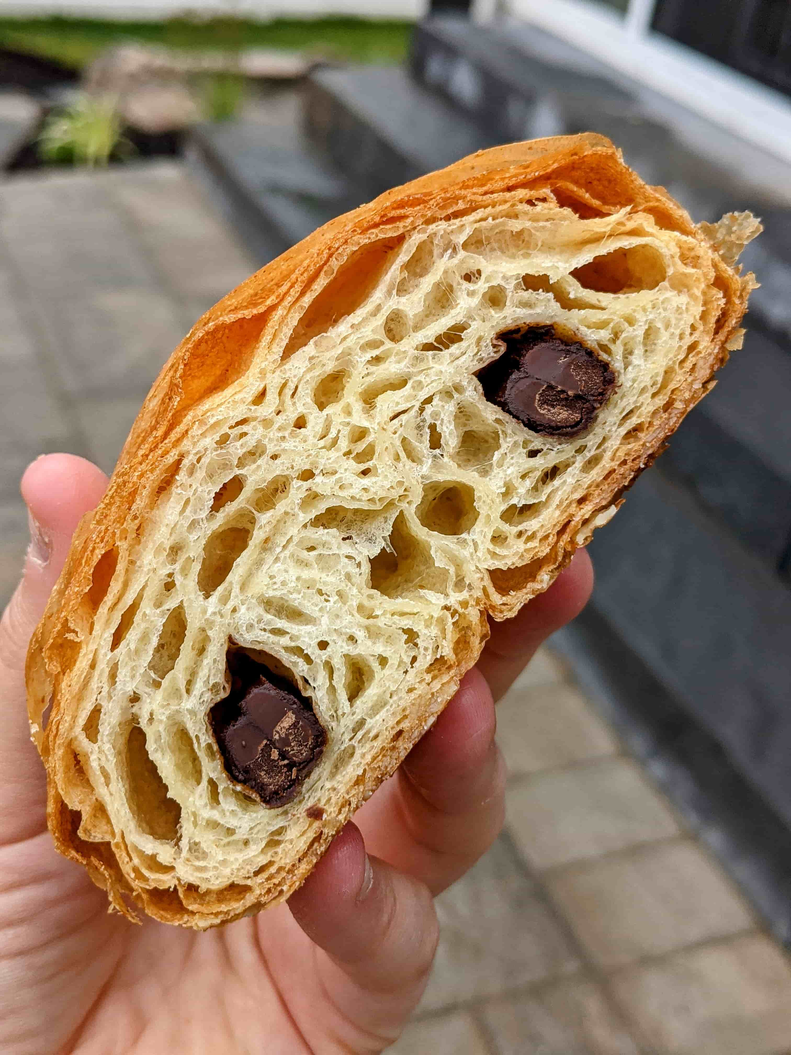 cross section of black market bakers chocolate croissant