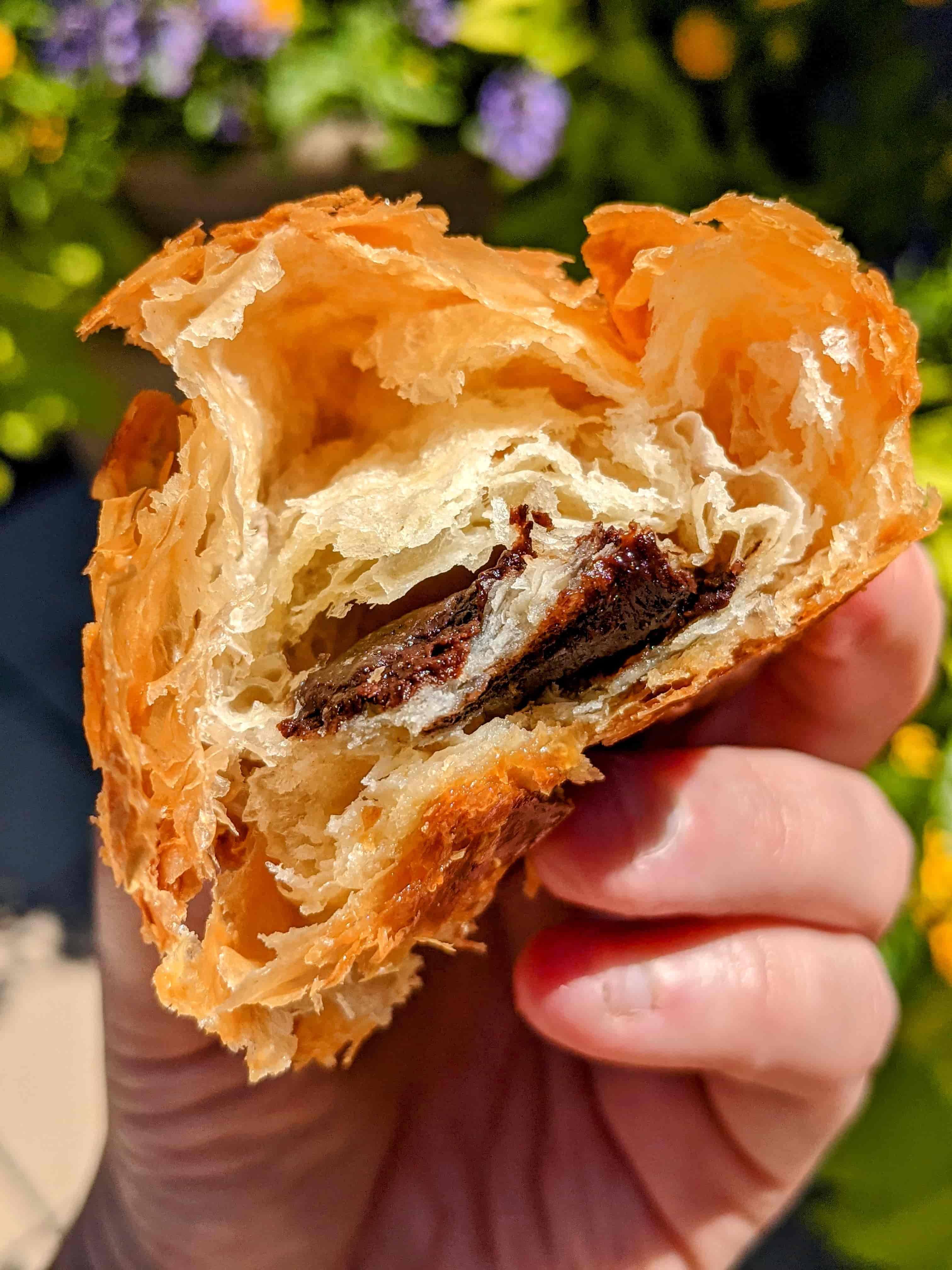 cross section of sweet hearts patisserie chocolate croissant