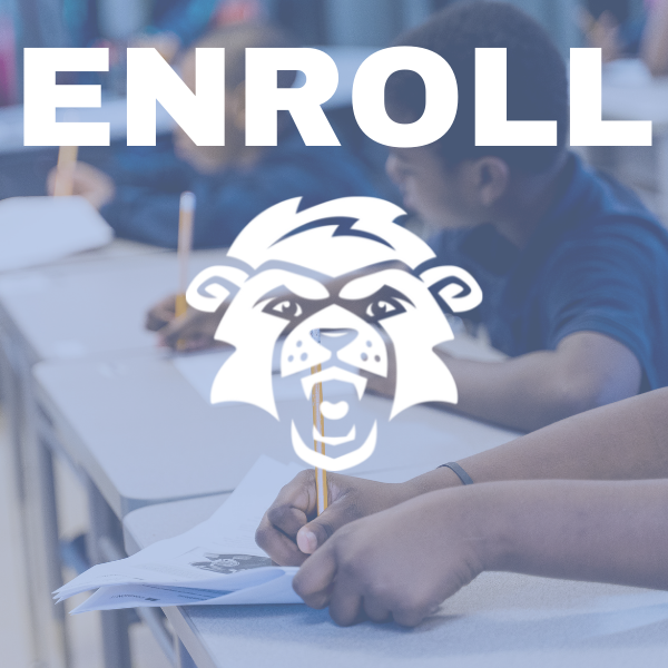 Students working with enroll text and logo in white