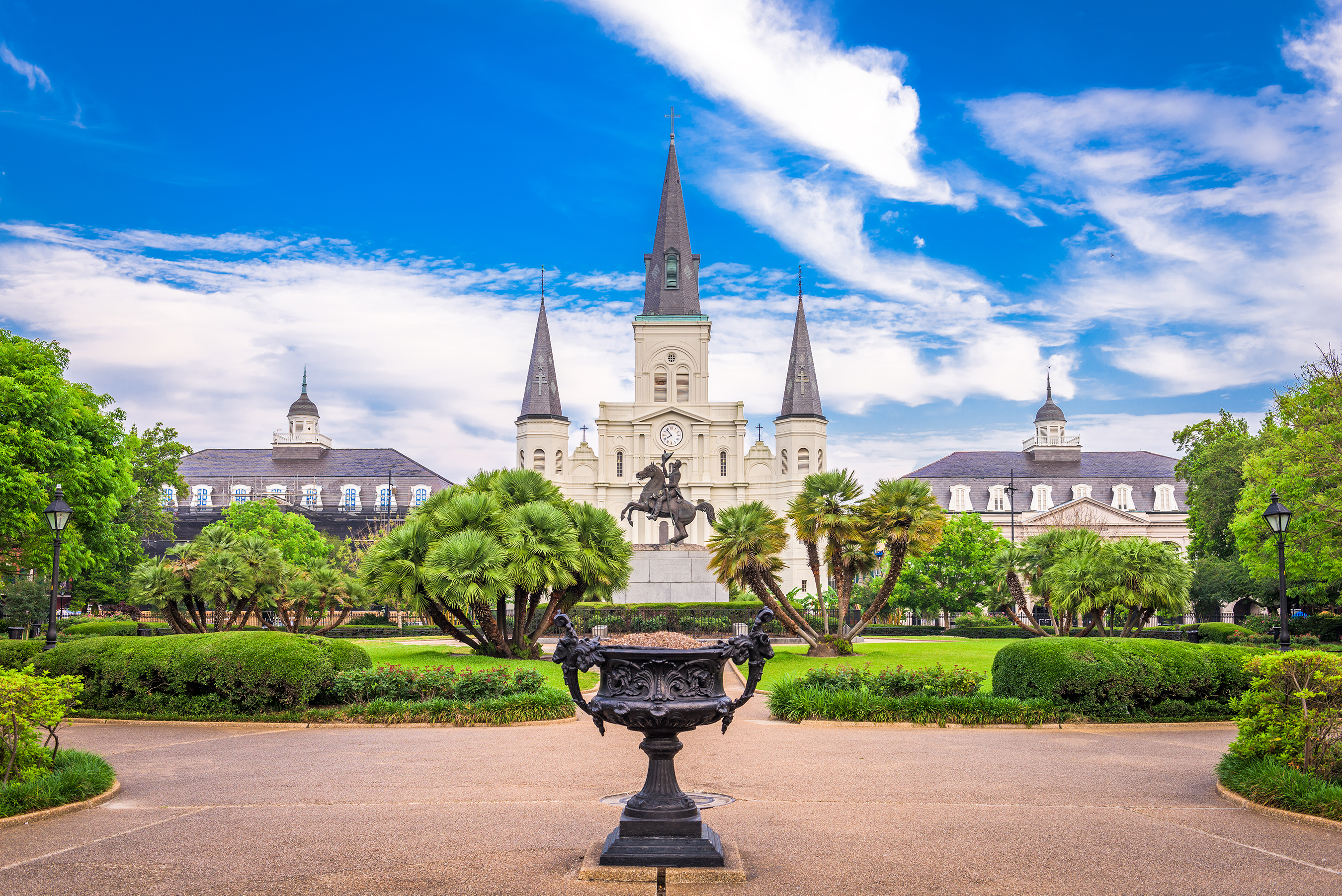 St. Louis Cathedral court yard located in New Orleans, LA