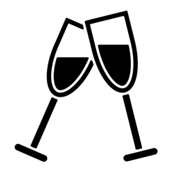 Icon of two glasses toasting
