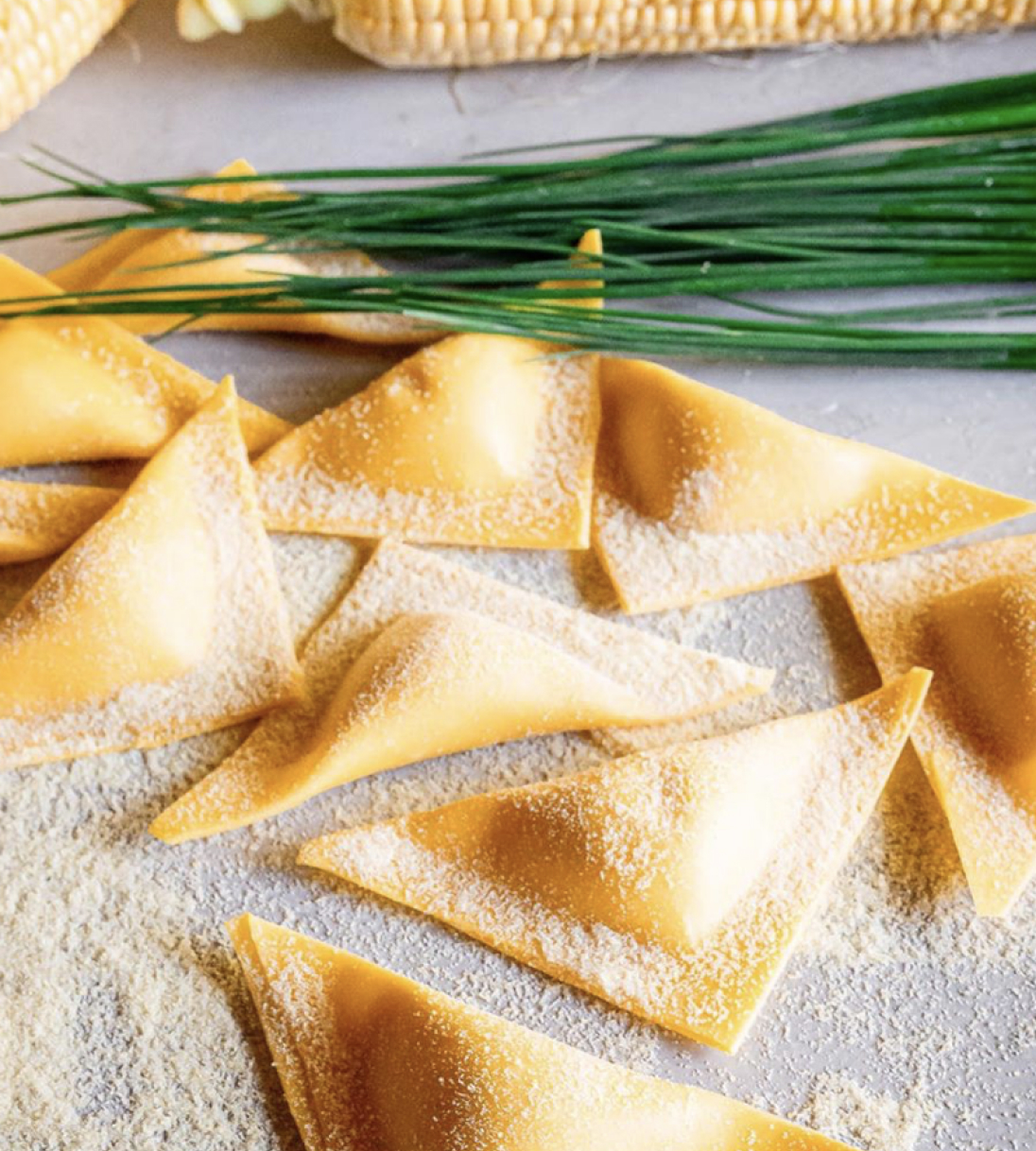 Corn triangoli pasta kit for cooking at home